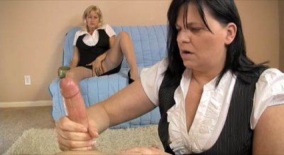 Two Grannies In Cute Uniforms Wanking On A Big Cock