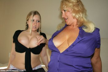 Chubby Mom And Busty Teen Shares Sucking A Huge Cock