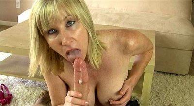 Hot milf swallowing huge cock