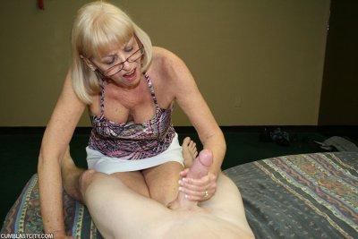 Cum shot milking hand job granny