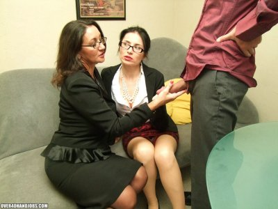 Over 40 Year Old Offiec Sluts Persia Minor And Tatiana Petrova Jacking The Boss' Massive Dick During Working Hours