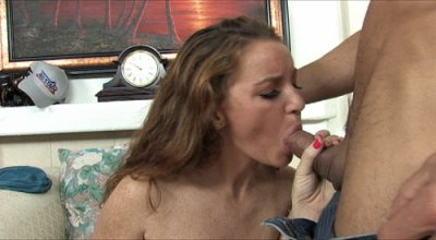 Emily Is  Naked And On Her Knees While Getting An Epic Cum Spray